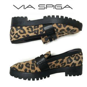 Via Spiga cheetah print loafers size 7